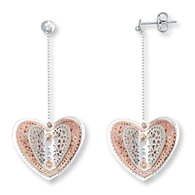 Filigree Heart Earrings 10K Two-Tone Gold