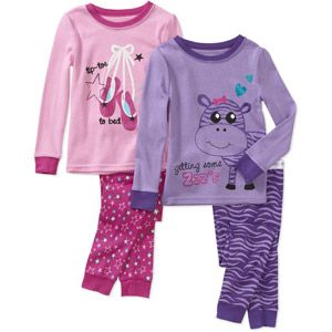 Faded Glory Infant Girls' Tight Fit Pajamas, 2 sets