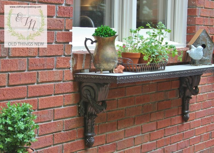A Shelf Repurposed As A Window Plant For An Herb Garden In Pots.