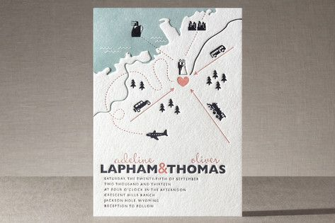 Destination Letterpress Wedding Invitations by Unless Someone Like You at minted.com