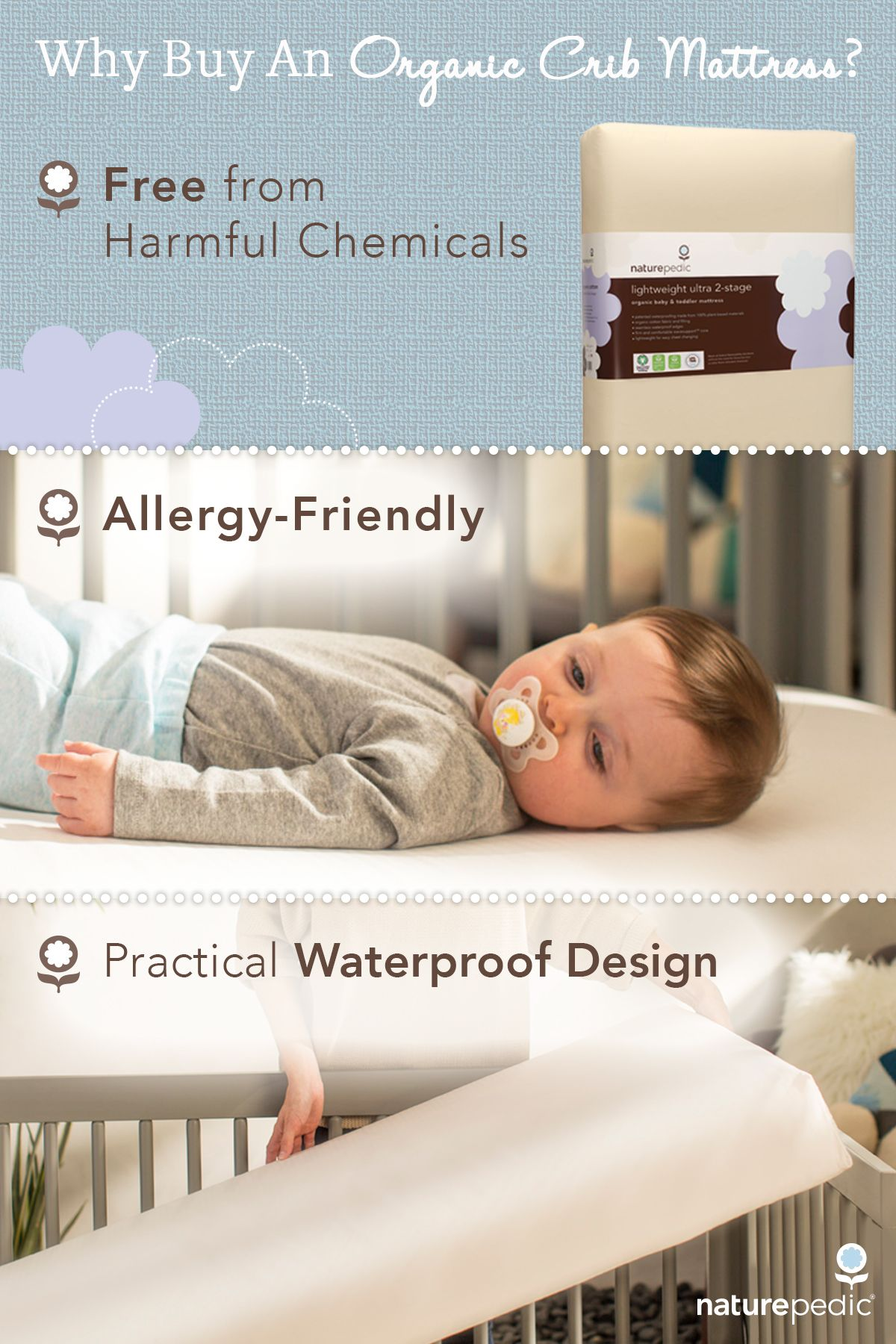Naturepedic Organic Crib Mattresses Eliminate Hazardous Chemicals Found In Conventional Mattresses Offerin Baby Crib Mattress Baby Cribs Organic Crib Mattress