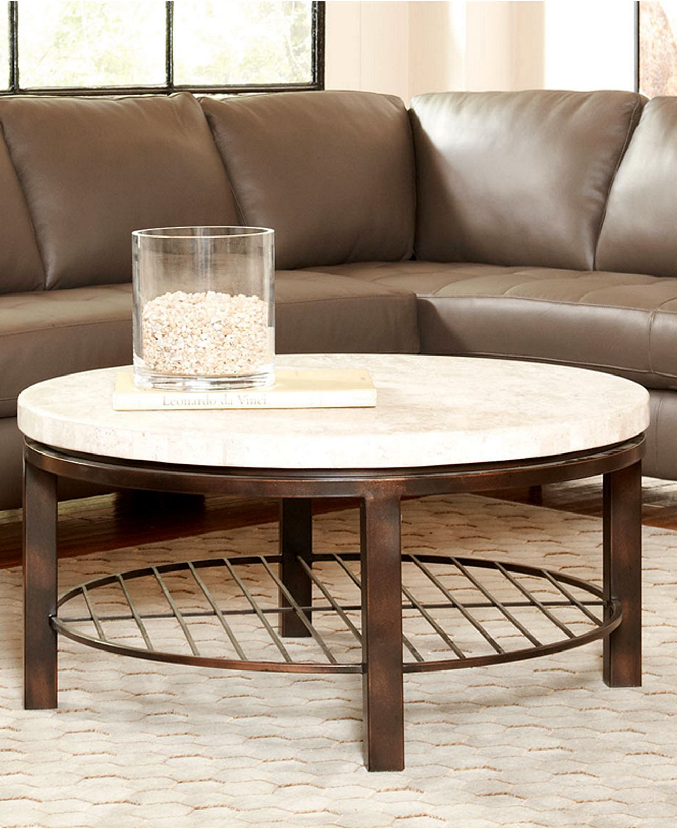 Tempo Travertine Table Collection Round Travertine Coffee Table