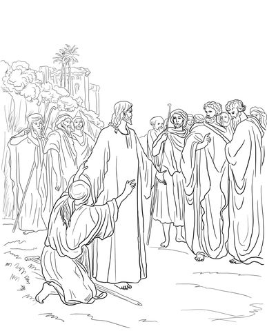 Jesus Healing the Demon Possessed Man Coloring page