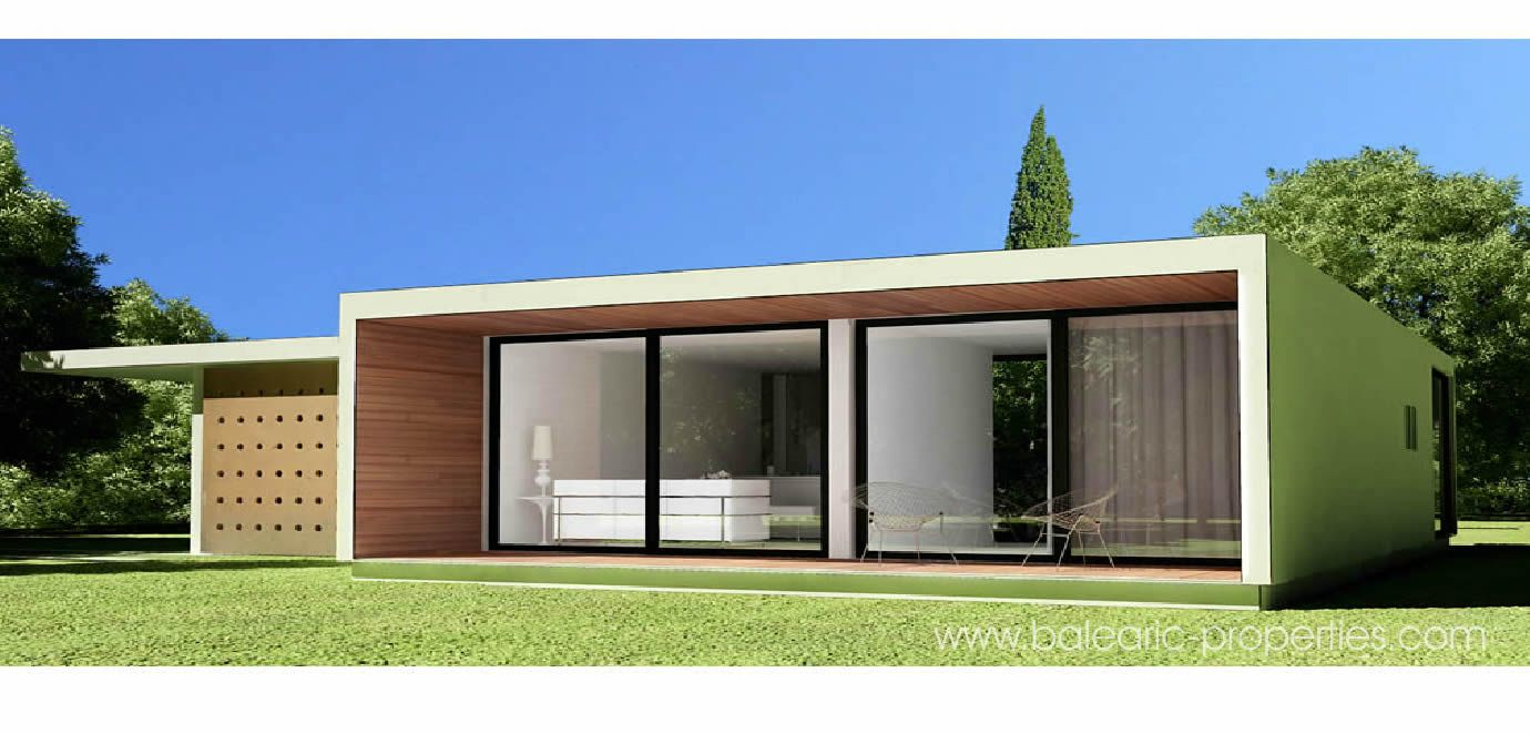 Concrete modular villas in mallorca small modern for Modern modular house plans