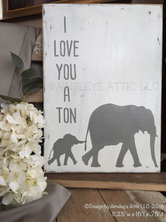 I Love You A Ton Baby Elephant Rustic Wood Nursery Sign Safari Art Woodland Jungle Bedroom Decor Zoo Animal Child