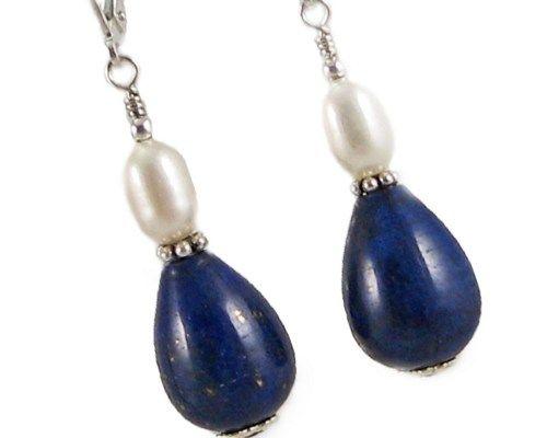 Lapis Lazuli Teardrops with Rice Pearl Sterling Silver Earrings | Jordiska - Jewelry on ArtFire