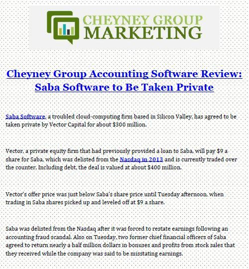 Cheyney Group Accounting Software Review Saba Software to Be Taken - resume valley reviews
