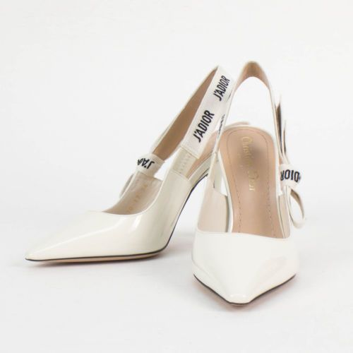 dfdbffe13e2f NIB DIOR  J ADIOR  White Patent Leather Slingback Heels Shoes Size 38.5 8.5