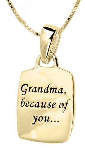 """14k Yellow Gold Plated Sterling Silver """"Grandma, Because Of You, I Have Memories To Last A Lifetime"""" Reversible Pendant Necklace , 18"""" Amazon Curated Collection,http://www.amazon.com/dp/B002AMUUCY/ref=cm_sw_r_pi_dp_NgX7rb1GRTCTVJDJ"""