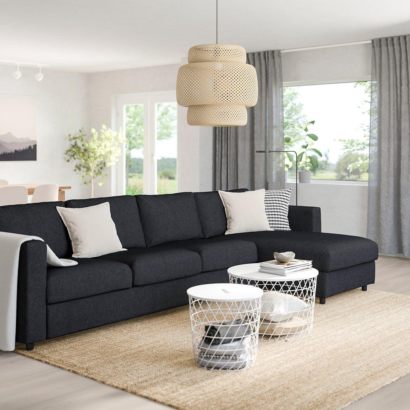 Vimle 4er Sofa Mit Recamiere Tallmyra Schwarz Grau Sitzecke Sofas Und Ecksofa