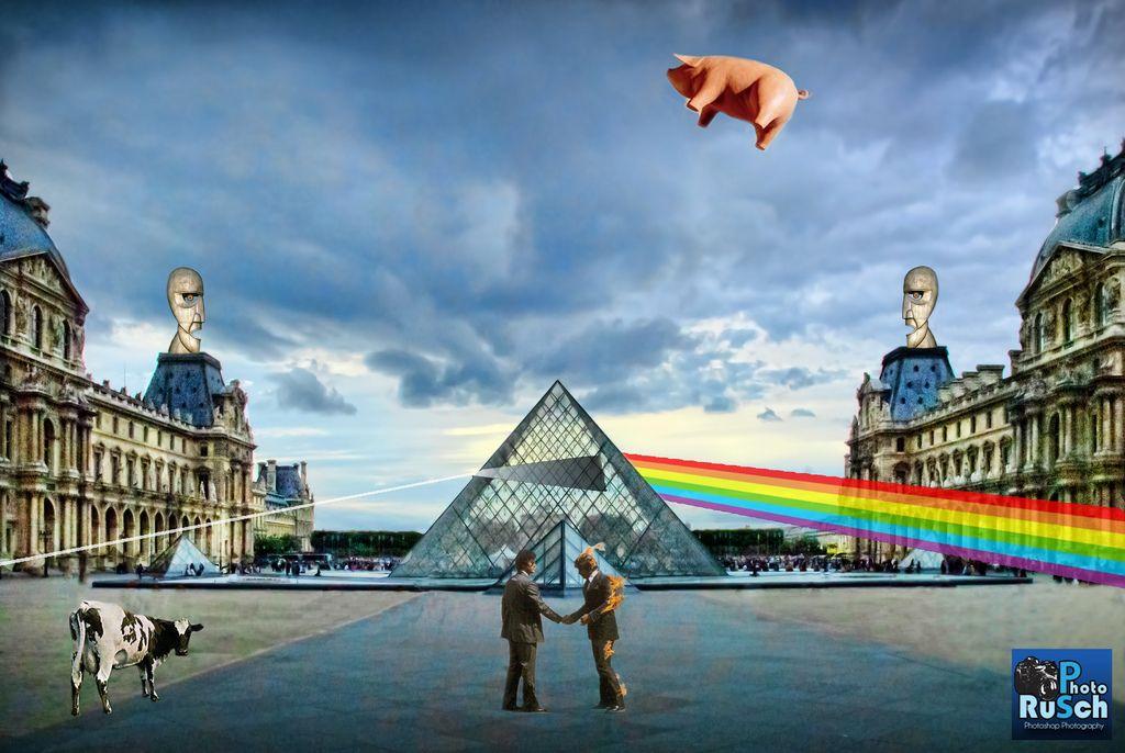 Pink floyd pyramid at louvre museum paris france pink