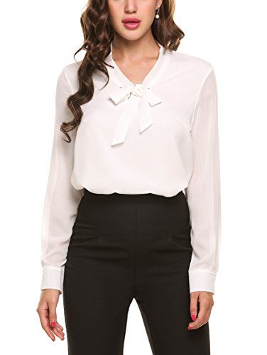 8f5886e97b1 Pin by Susan on White Tops & a Robe | Blouse, Women bow tie, Office ...