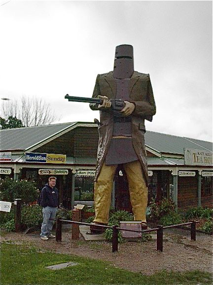 Glenrowan, Australia - giant statue of famous Aussie outlaw Ned Kelly