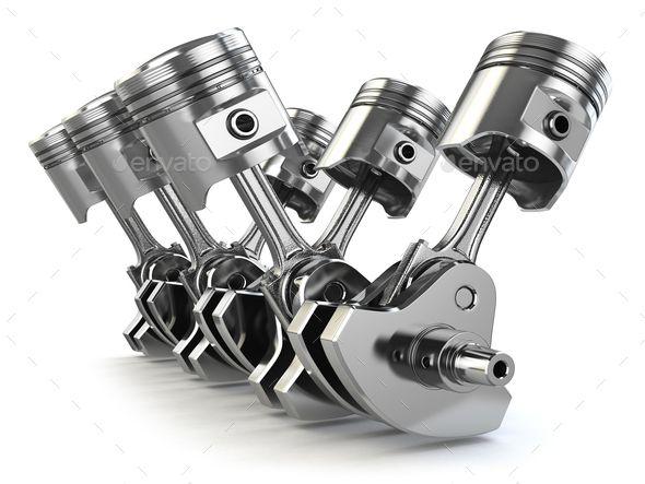 V6 Engine Pistons And Crankshaft Isolated On White Background Engine Pistons Mechanic Tattoo Engineering