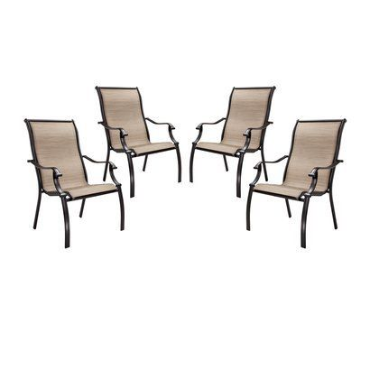 Bromley 4 Piece Sling Patio Dining Chair Set Tan Opens