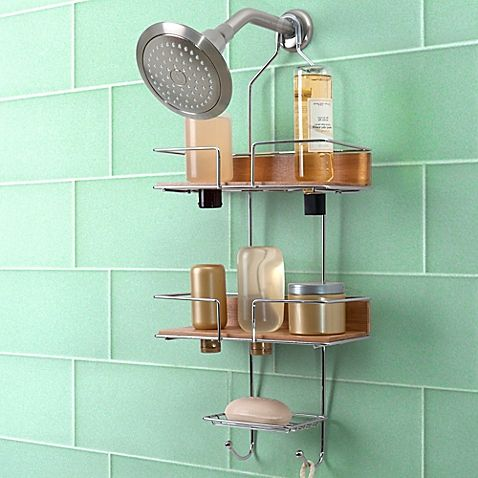 Totally Bath Sleek Bamboo Shower Caddy | Things for New Apartment ...