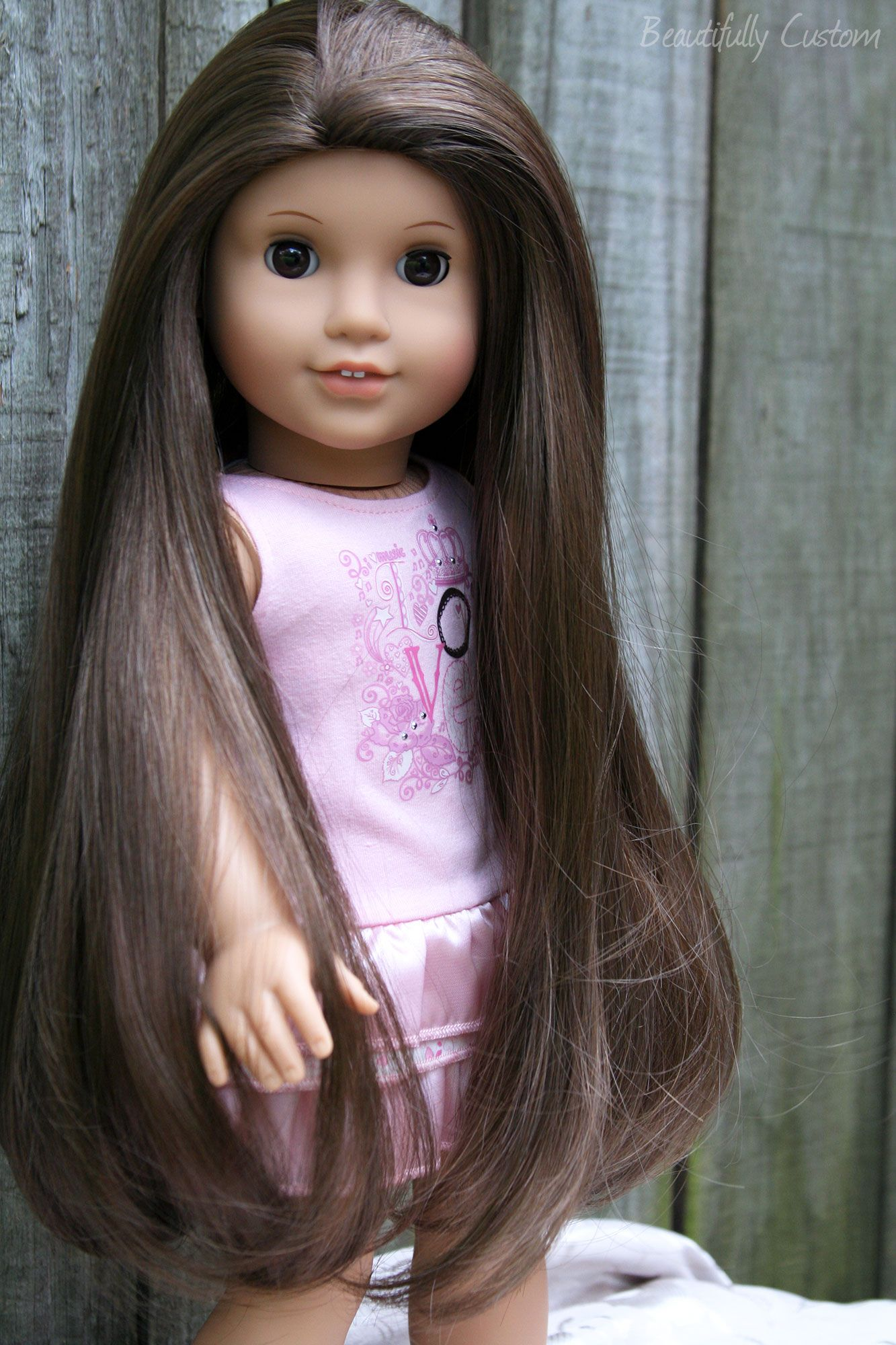 Custom American Girl Doll Brown Eyes and Long Brown Hair Julie