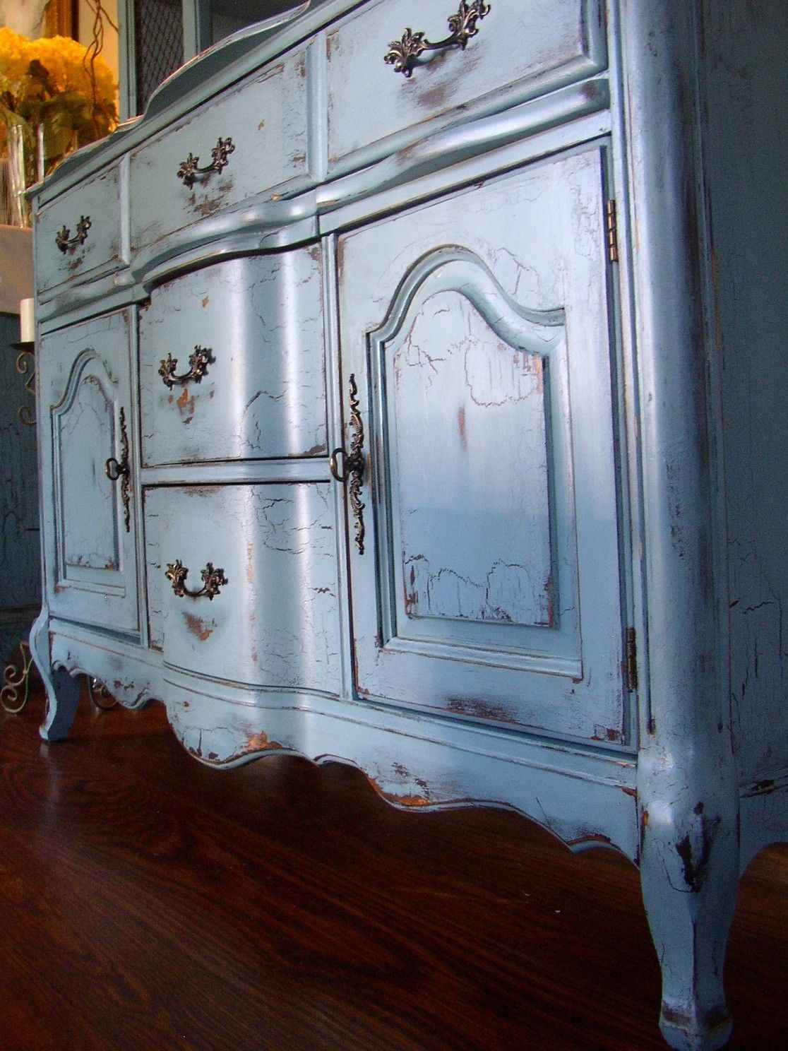 Distressed And Aged French Country Buffet In A French Country Blue - French country blue