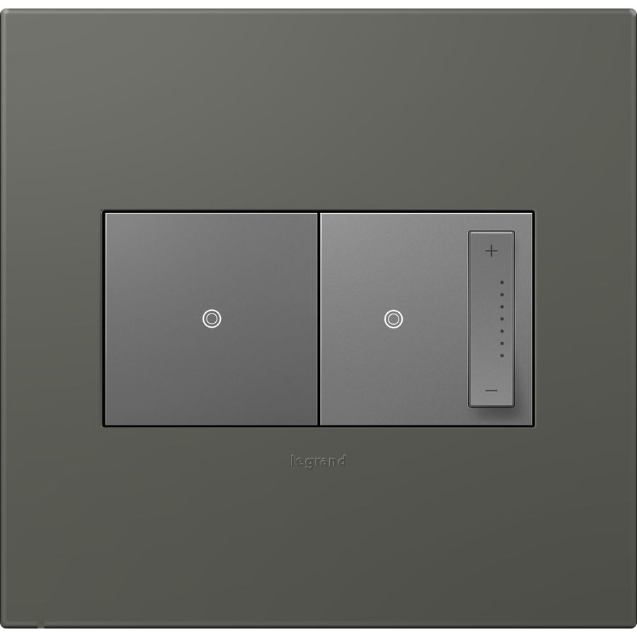 Legrand Adorne 2 Gang Soft Touch Moss Grey Double Square Wall Plate Way Switch