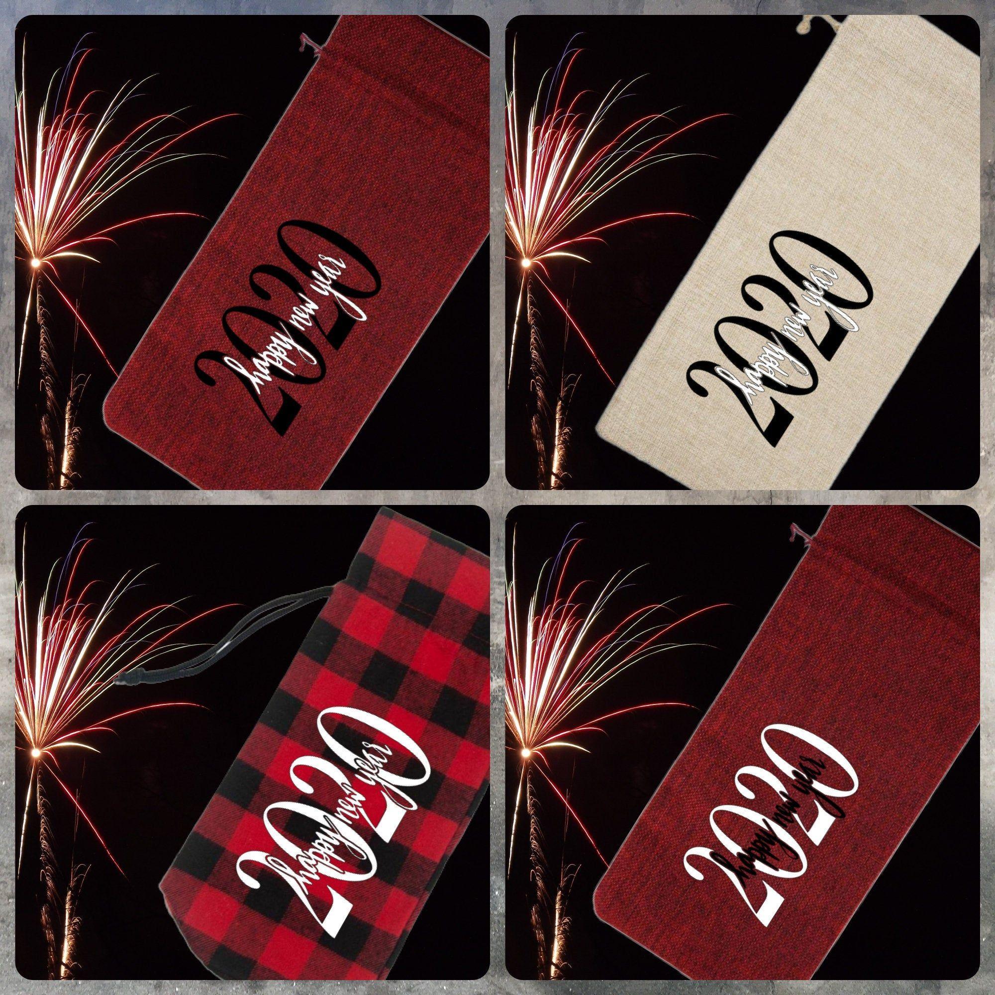 Happy New Year 2020 Wine Gift Bag Buffalo Plaid Wine Bag