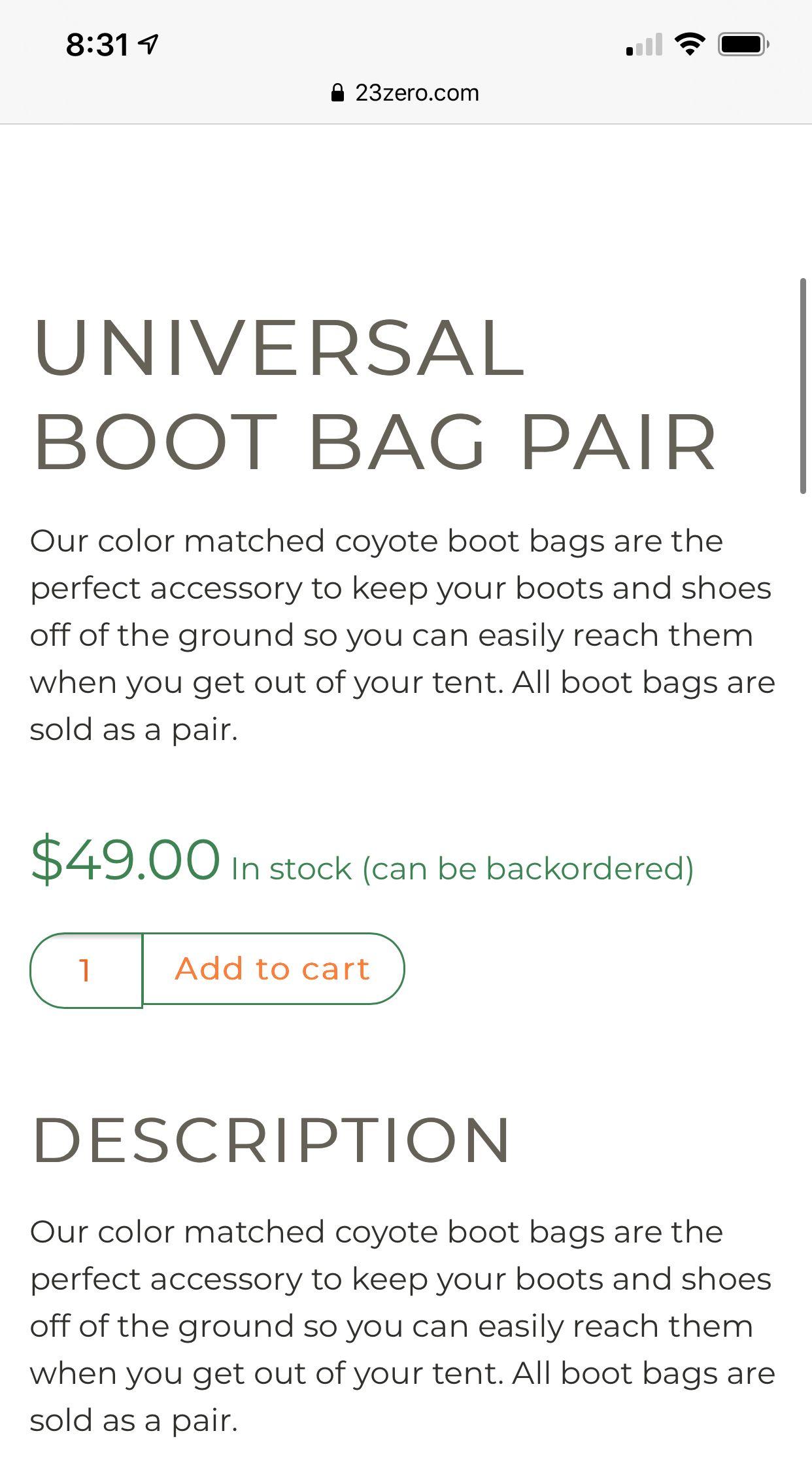 Universal Boot Bag Pair 23ZERO USA in 2020 Boot bag