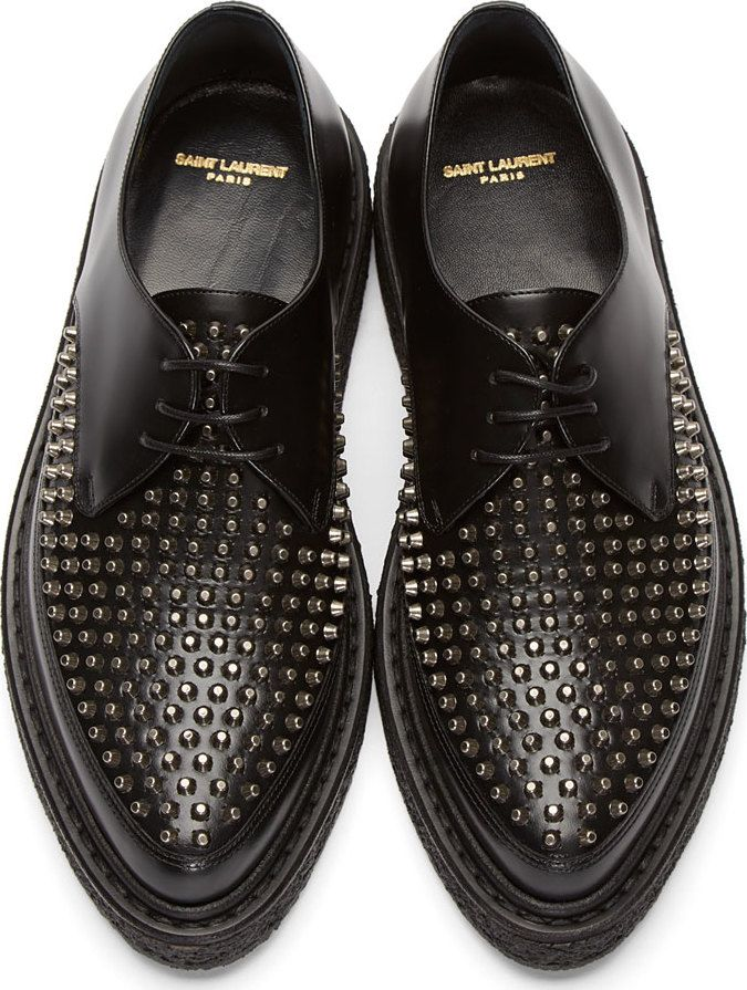 821fbd4219192 Saint Laurent  Black Leather Studded Creepers   SSENSE   Clothes in ...