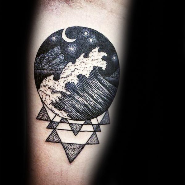 Black Ink Waves With Geometric Pattern Mens Circle Tattoo
