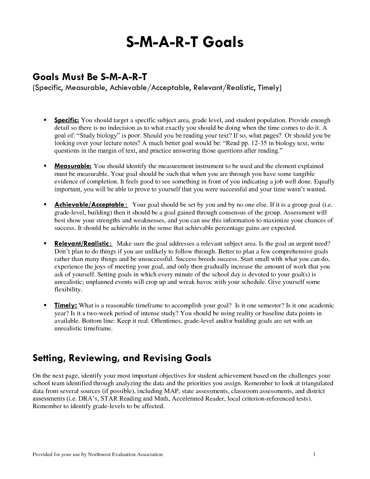 Educational Smart Goals Template