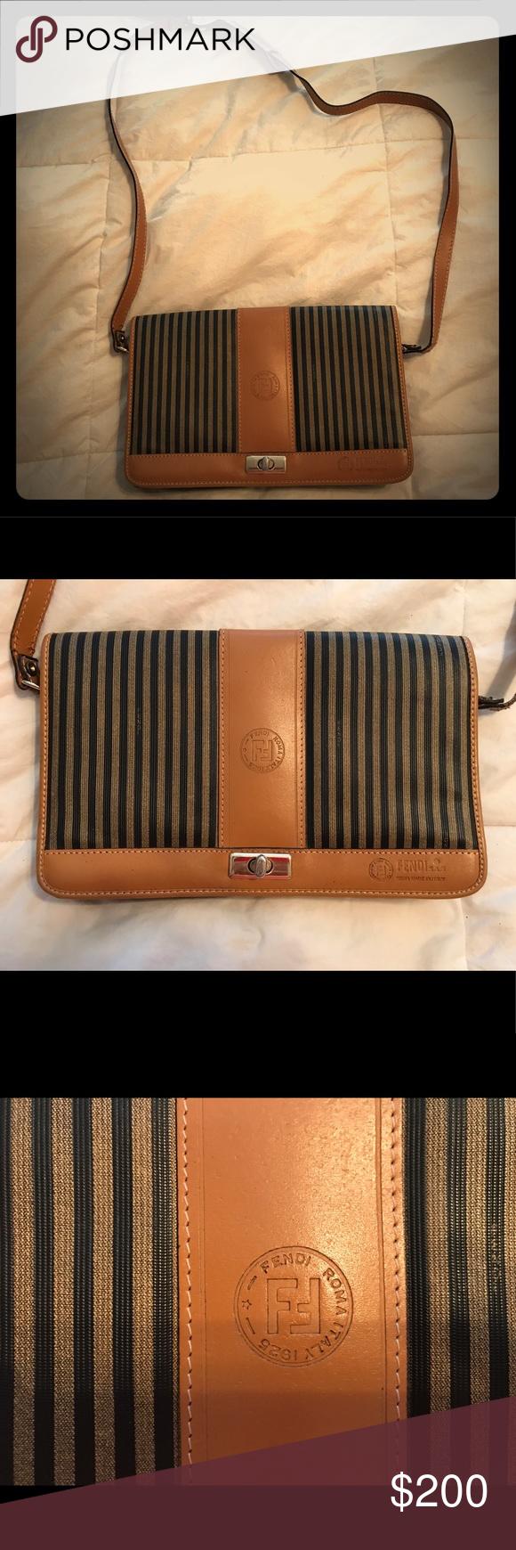Vintage Fendi Striped Crossbody Bag Vintage Fendi Crossbody bag. Classic  Fendi Black and Tan stripes 22766114ef1a6