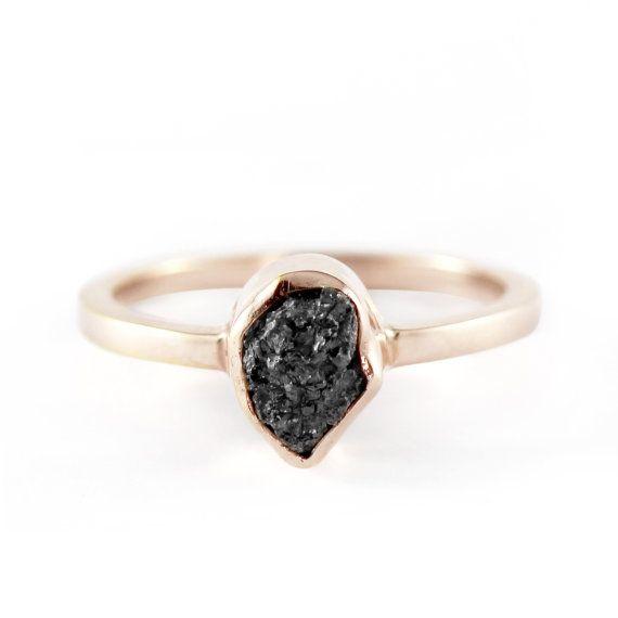 Uncut Diamond Ring Black Rough 14k Rose Gold Delicate Rings Uncut