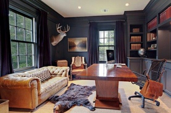 33 Stylish And Dramatic Masculine Home Office Design Ideas | MAN ...