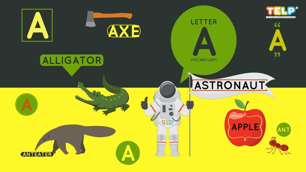 Phonics Letter A Vocabulary Video Ant, Apple, Astronaut