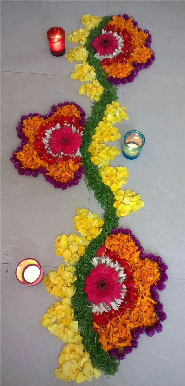 Indian Rangoli Diwali Rangoli Easy Rangoli Mandir Decoration Flower Decoration Janamashtami Decoration Ideas Diwali Decorations Ceremony Decorations ... & Pin by Priyanka Patil on Floral arrangements and more | Pinterest ...