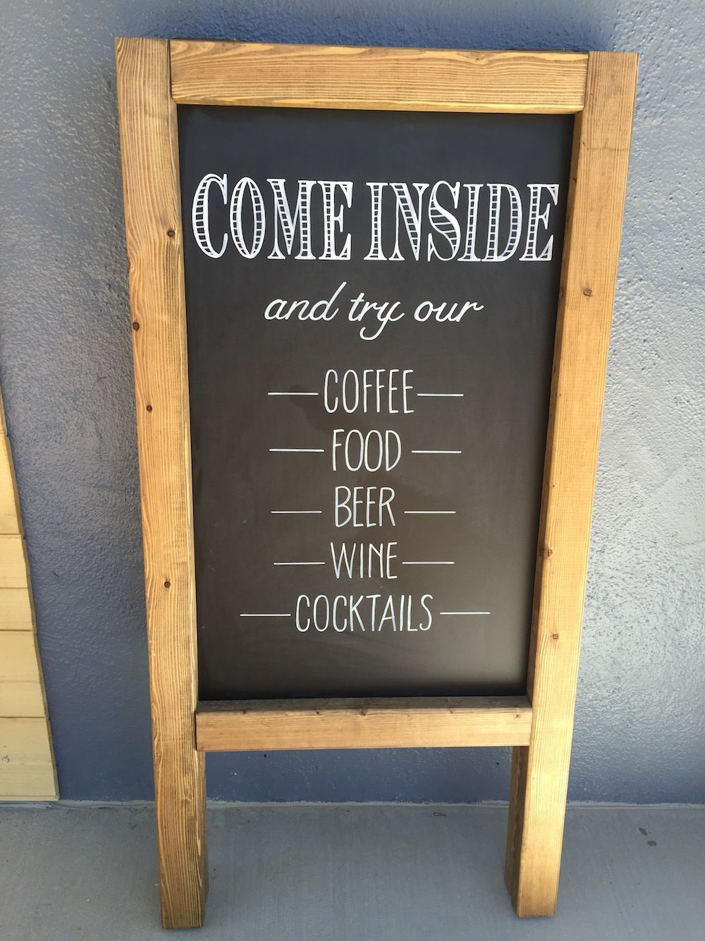 inside' business signage. Coffee Shop sandwich