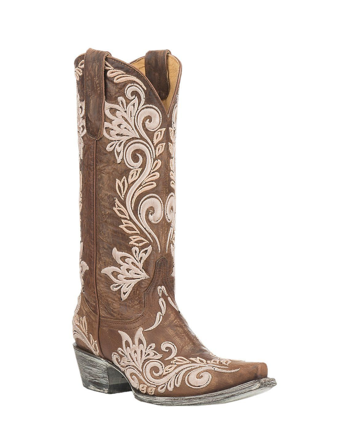 0c86ddce79e by Old Gringo Women's Brown with White Embroidery Western Snip Toe ...