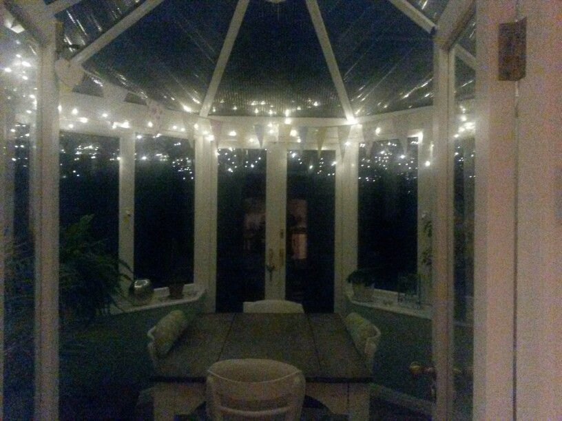 Conservatory Fairy Lights In The Dark Conservatory Decor Conservatory Interiors Fairy Lights