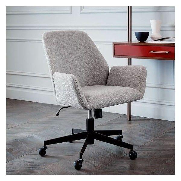 West Elm Aluna Upholstered Office Chair Teal Blackened Brass
