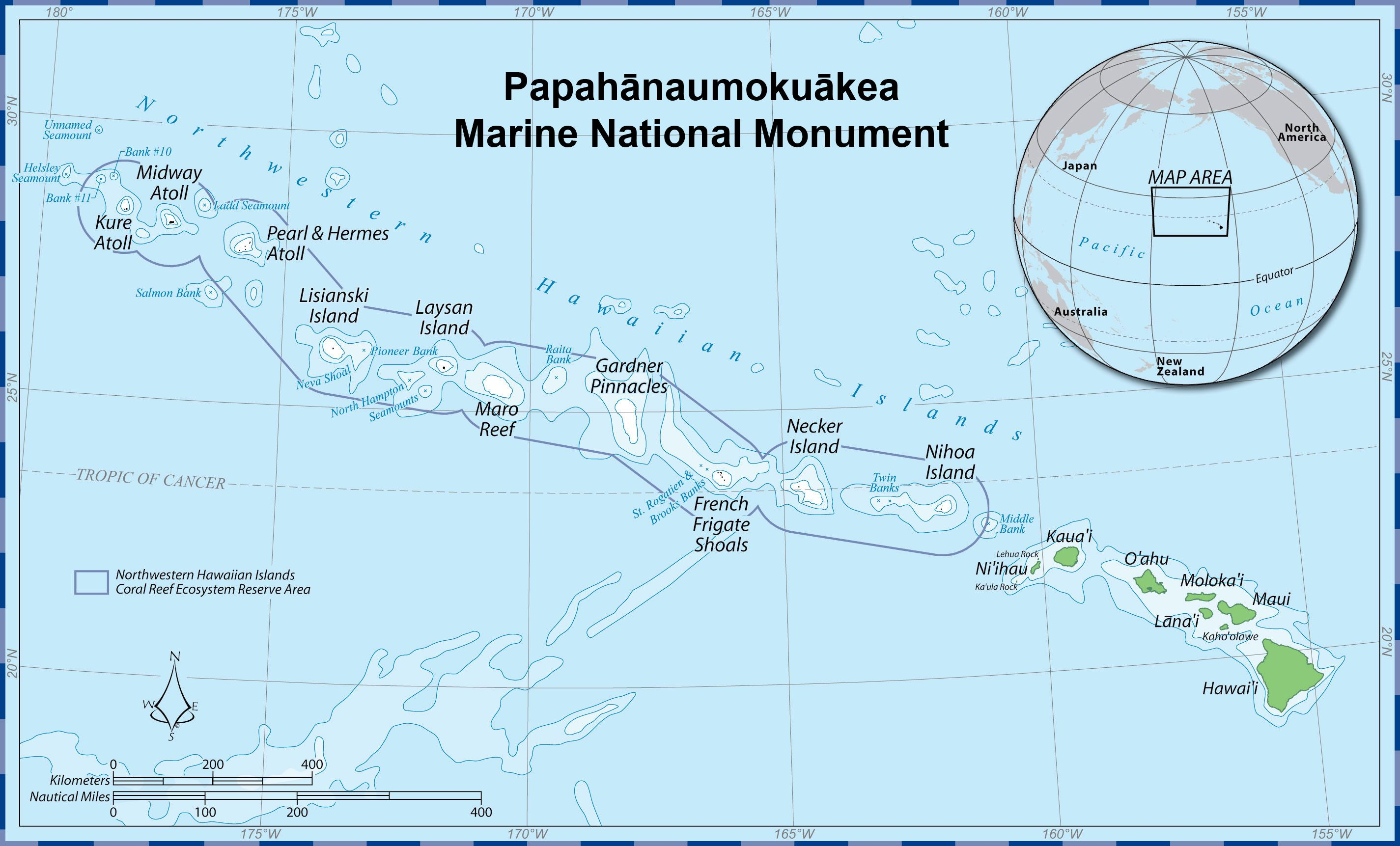 map of the papahanaumokuakea marine national monument in the