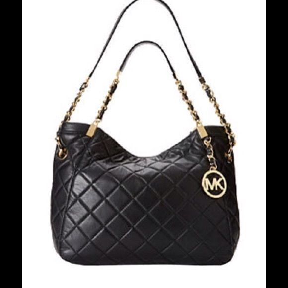 %AUTHENTIC MICHAEL KORS Leather bag MICHAEL KORS Susannah Medium Quilted  Leather Tote/ SILVER CHAIN