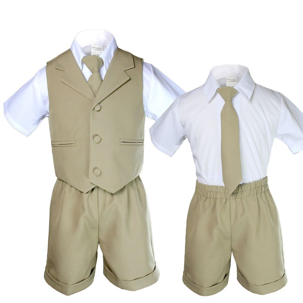 789865a6f Baby Boy Toddler Wedding Formal Necktie Khaki Shorts Vest Set Eton Suit S -  4T #Unbranded #DressyEverydayHoliday
