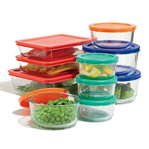 Food Storage Set with Color Lids - This Pyrex food storage set is just what your kitchen needs. Makes a great wedding or housewarming gift.  sc 1 st  Pinterest & Pyrex 20-pc. Storage Set with Color Lids Multicolor | Storage sets ...