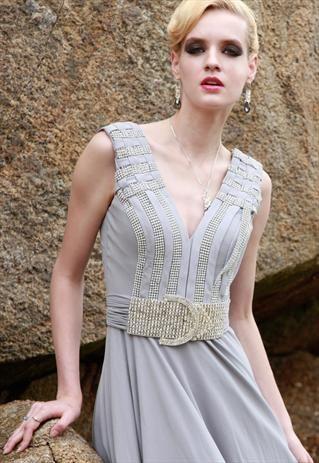 Grey low-V-Neck Party Dress 80853