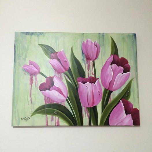 """""""Tulipas da Turquia"""" tela em canvas, 60 x 80 cm, pintura com tinta PVA, a mão, pintura também nas laterias dispensando o uso de moldura, impermeabilizada com verniz spray."""