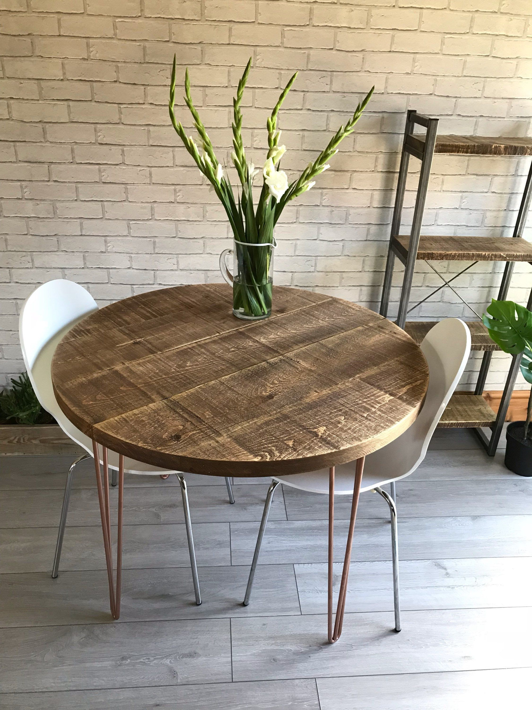 Round Rustic Industrial Dining Table With Copper Hairpin Legs