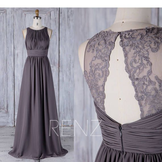 Bridesmaid Dress Dark Gray Chiffon Wedding Dress Illusion Lace Prom Dress Ruched Boat Neck Ma... #maxidress