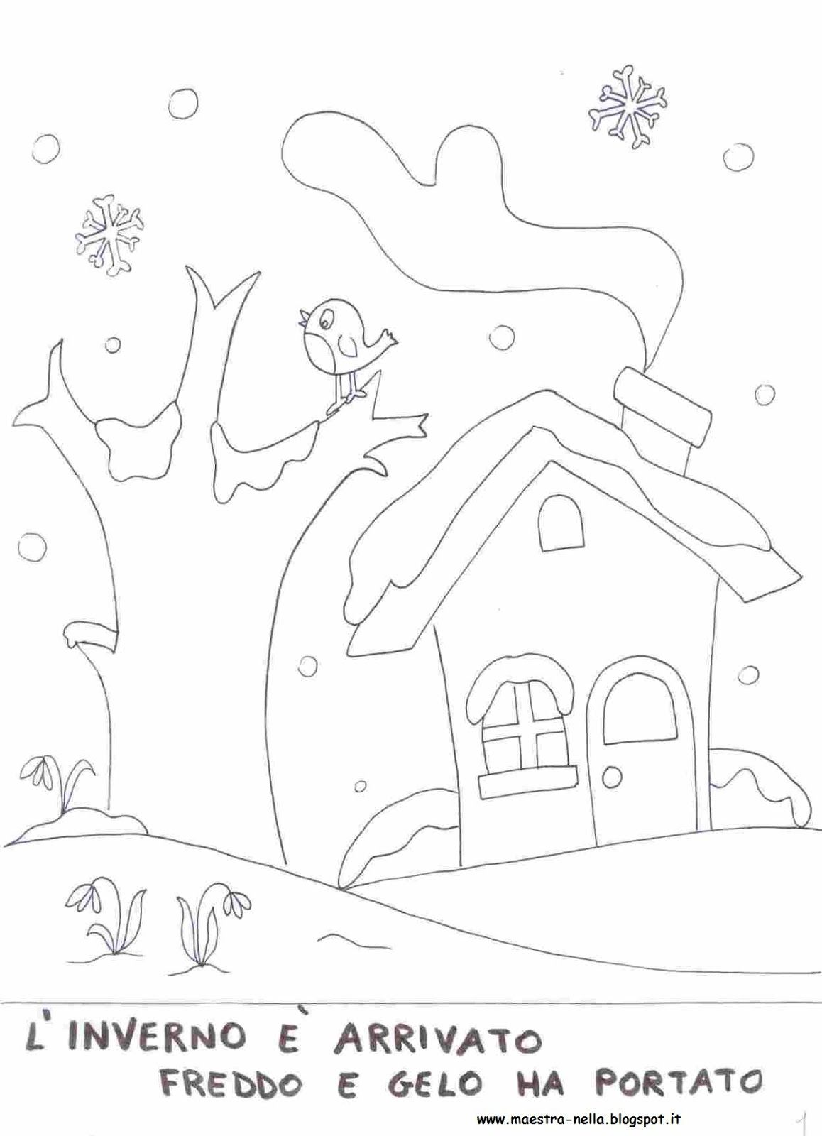Maestra Nella Libretto Inverno Inverno Pagine Da Colorare E