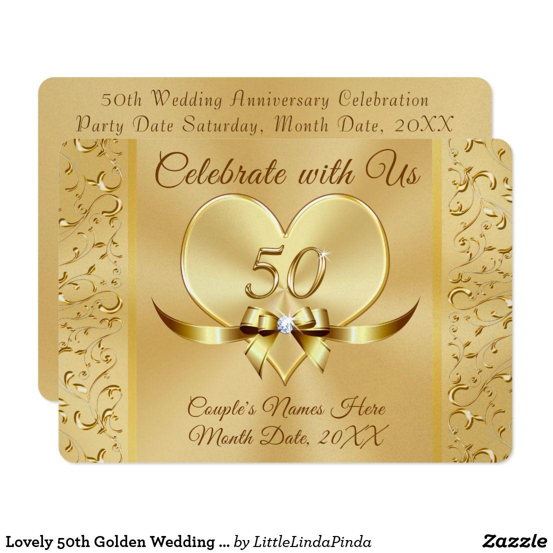 Lovely 50th Golden Wedding Anniversary Invitations | Golden wedding ...