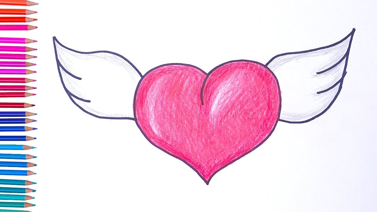 How To Draw Heart With Wings Easy Drawings In 2020 Easy Drawings Heart Drawing Easy Drawings For Beginners