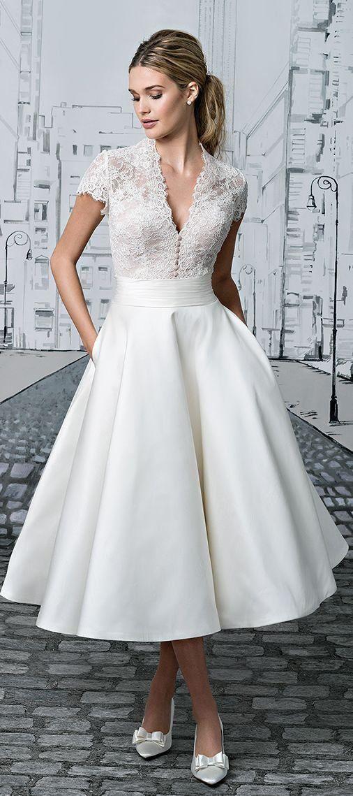 Short Wedding Dresses Vneck Lace Tealength Ivory Simple