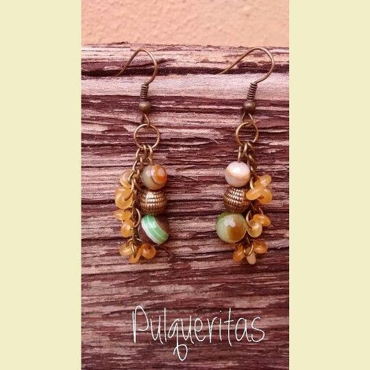 Mix agate earring. #Boho style. Pulqueritas creations. Contact: pulqueritas@gmail.com  Follow us on Pinterest and Instagram!